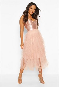 Womens Nude Layered Tulle Midi Skirt