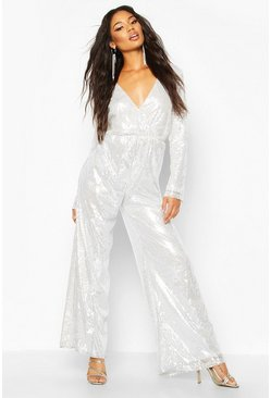 Womens Silver Wrap Front Sequin Wide Leg Jumpsuit