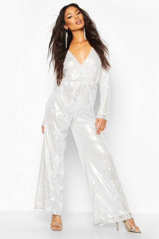 Wrap Front Sequin Wide Leg Jumpsuit