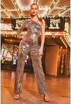 Womens Silver One Shoulder Sequin Wide Leg Jumpsuits