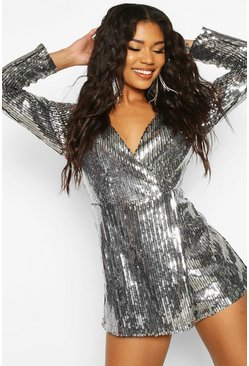 Silver Sequin Wrap Front Playsuit