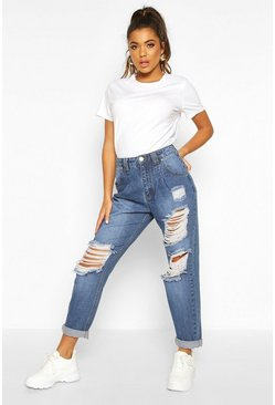 Womens Blue Distressed High Rise Boyfriend Jean