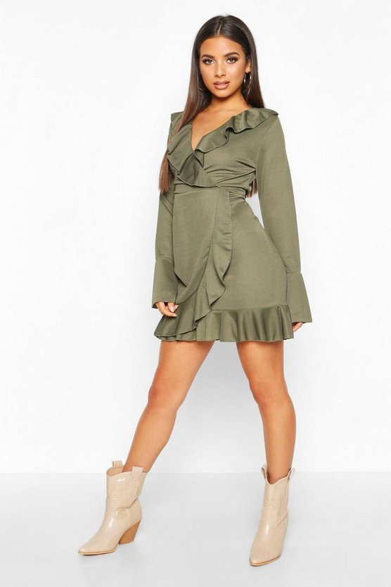 Ruffle Detail Tea Dress