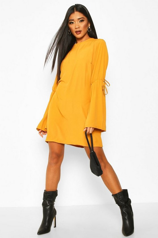 Mustard Crew Neck Tie Sleeve Detail Shift Dress