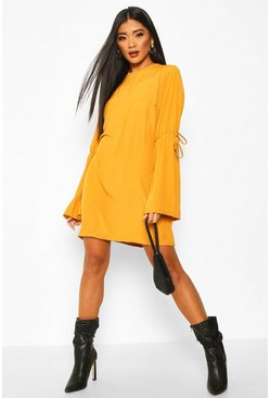 Womens Mustard Crew Neck Tie Sleeve Detail Shift Dress