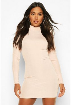 Womens Soft pink Rib Heavy Weight Funnel Neck Mini Dress