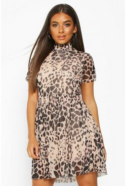 Womens Black High Neck Mesh Leopard Smock Dress
