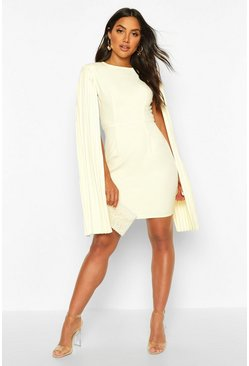 Womens Ivory Pleated Cape Sleeve Mini Dress