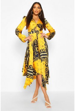 Womens Mustard Scarf Print Twist Front Midi Dress