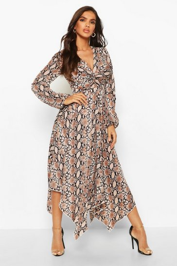 Brown Snake Print Twist Front Midi Dress