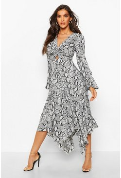 Grey Snake Print Twist Front Midi Dress