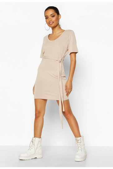 Womens Stone Brushed Plunge Short Sleeve Mini Dress