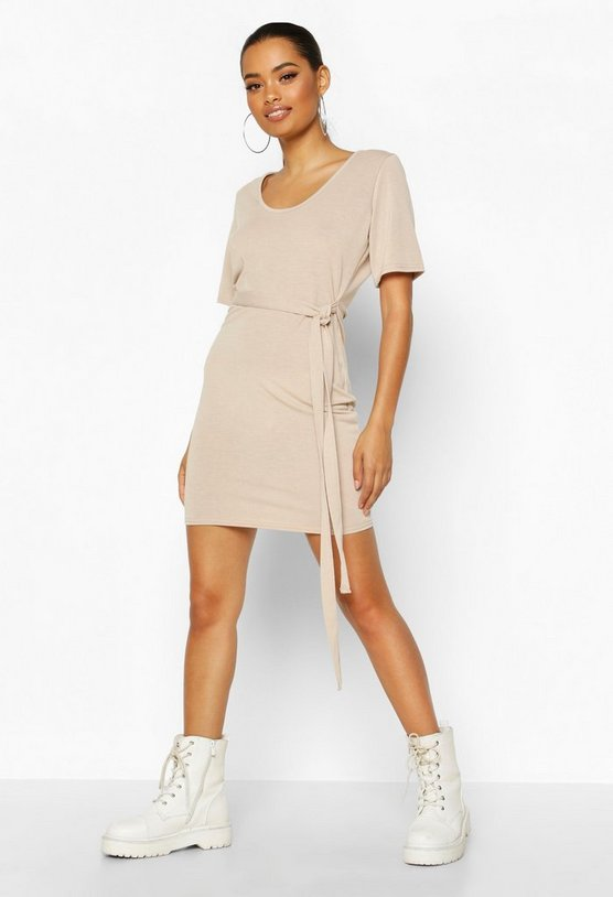Brushed Plunge Short Sleeve Mini Dress by Boohoo