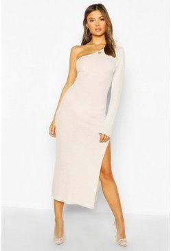Cream Brushed One Shoulder High Split Midaxi Dress