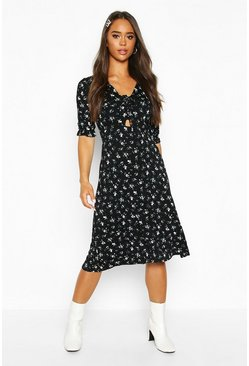 Womens Black Ditsy Floral Print Jersey Midi Dress