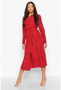 Burgundy Woven Tie Waist Maxi Shirt Dress