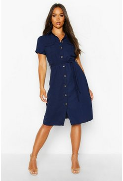 Womens Navy Woven Button Through Tie Waist Shirt Dress