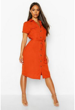 Orange Woven Button Through Tie Waist Shirt Dress