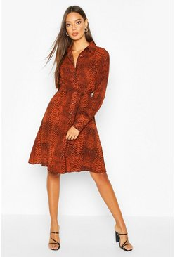 Brown Woven Snake Print Tie Waist Shirt Dress