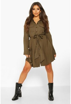 Womens Khaki Woven Tie Waist Pocket Shirt Dress