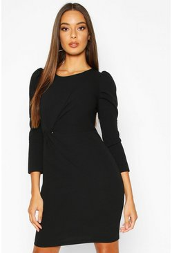 Black Crew Neck Knot Front Puff Sleeve Shift Dress