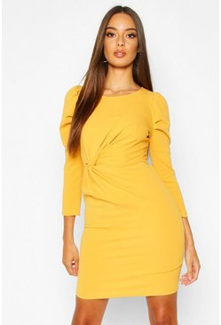 Womens Mustard Crew Neck Knot Front Puff Sleeve Shift Dress