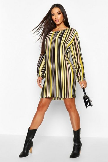 Womens Mustard Stripe Pleated Long Sleeve Shift Dress