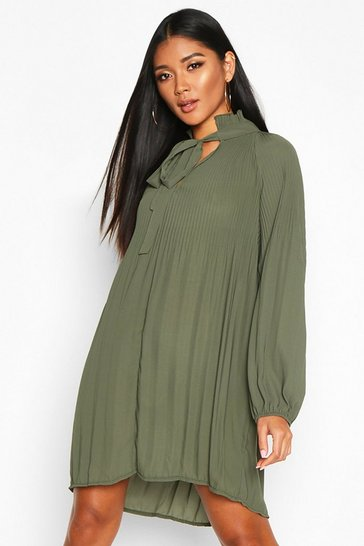 Womens Khaki Pussy Bow Pleated Shift Dress