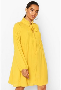 Mustard Pussy Bow Pleated Shift Dress