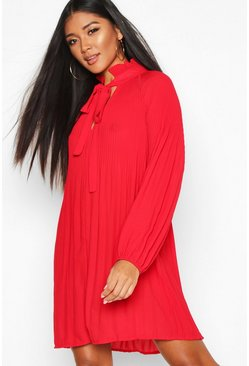 Red Pussy Bow Pleated Shift Dress