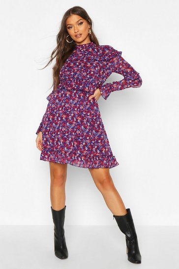 Navy Floral High Neck Woven Ruffle Skater Dress
