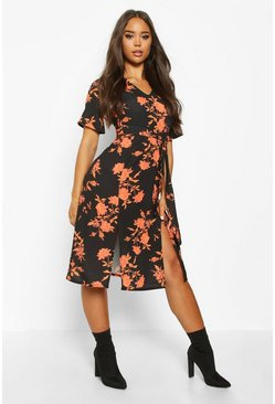 Womens Black Floral Printed Woven Belted Midi Dress