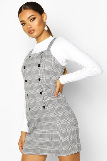 Womens Grey Dogtooth Button Pinafore Dress