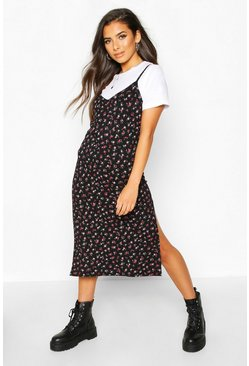 Womens Black Ditsy Floral Slip Midi Jersey Dress