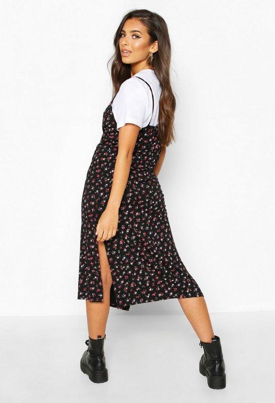 Ditsy Floral Slip Midi Jersey Dress