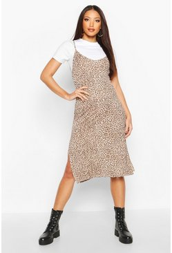 Womens Brown Leopard Print Jersey Slip Midi Dress