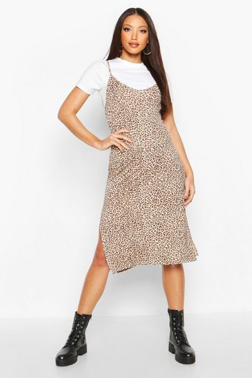 Brown Leopard Print Jersey Slip Midi Dress