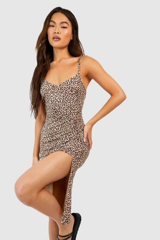 Leopard Print Jersey Slip Midi Dress