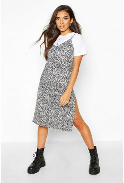 Womens Grey Leopard Print Jersey Slip Midi Dress