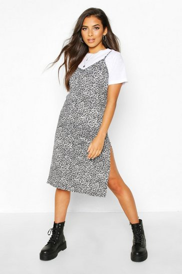 Grey Leopard Print Jersey Slip Midi Dress