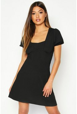 Womens Black Short Sleeve Rib Fit + Flare Mini Dress