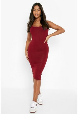 Berry Basic Square Neck Bodycon Midi Dress