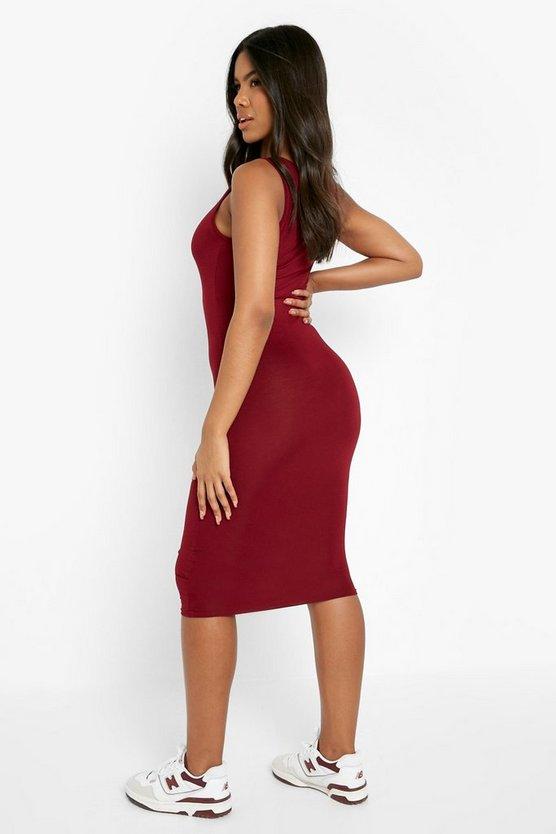 Basic Square Neck Bodycon Midi Dress