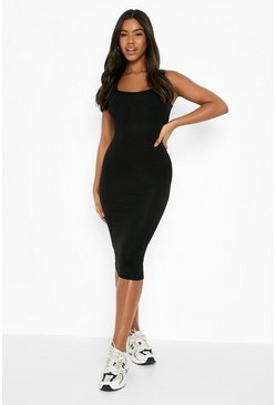 Womens Black Basic Square Neck Bodycon Midi Dress