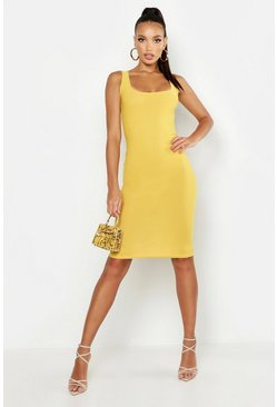 Womens Mustard Basic Square Neck Bodycon Midi Dress