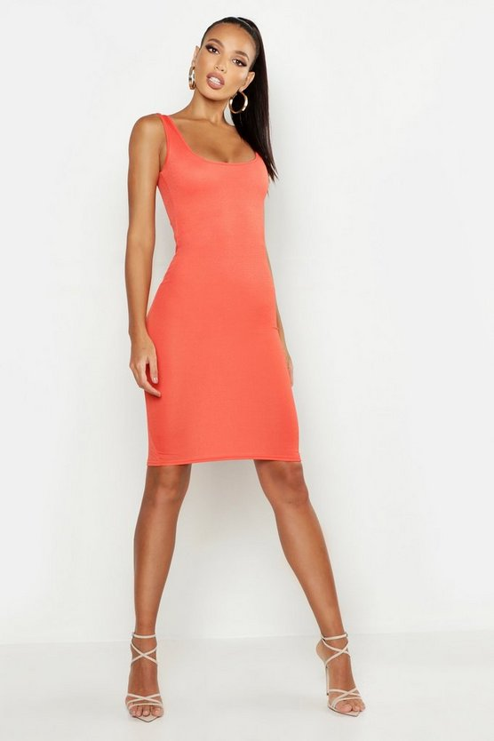 Womens Orange Basic Square Neck Bodycon Midi Dress