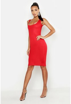 Red Basic Square Neck Bodycon Midi Dress