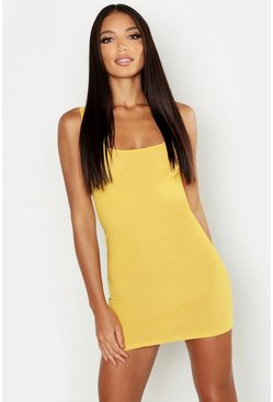 Womens Mustard Basic Square Neck Bodycon Mini Dress