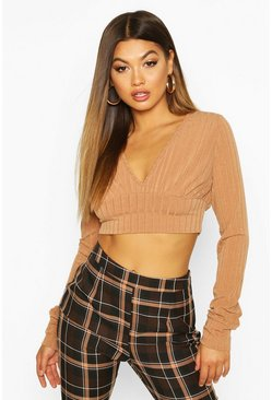 Womens Mocha Jumbo Ribbed Extreme Sleeve V Neck Crop