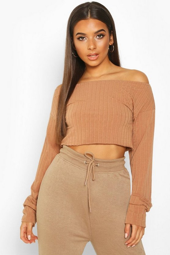 Womens Mocha Extreme Sleeve Off The Shoulder Rib Slouch Crop
